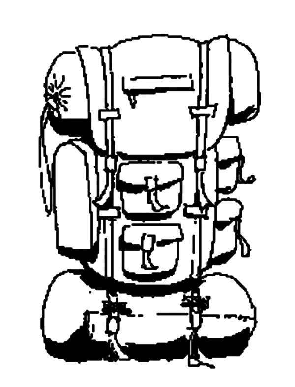 How to Draw Camping Backpack Coloring Pages