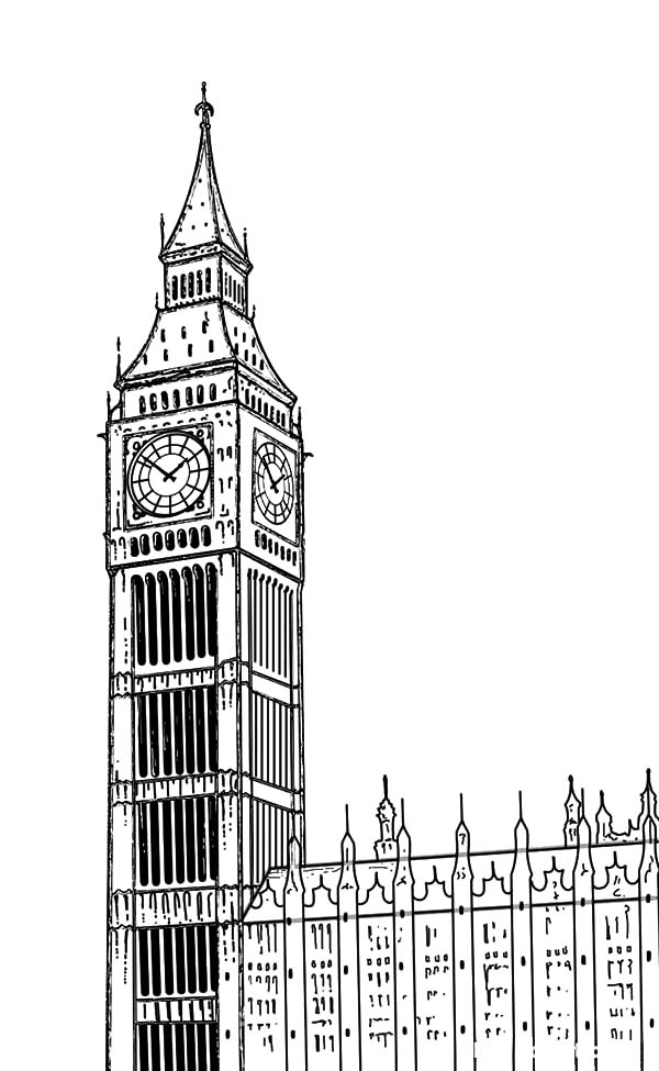 how to draw london clock tower coloring pages