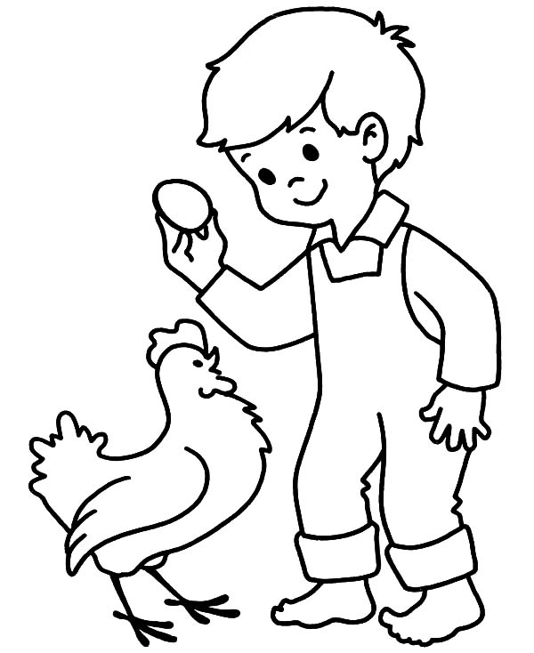 Kid Holding Chicken Egg Coloring Pages