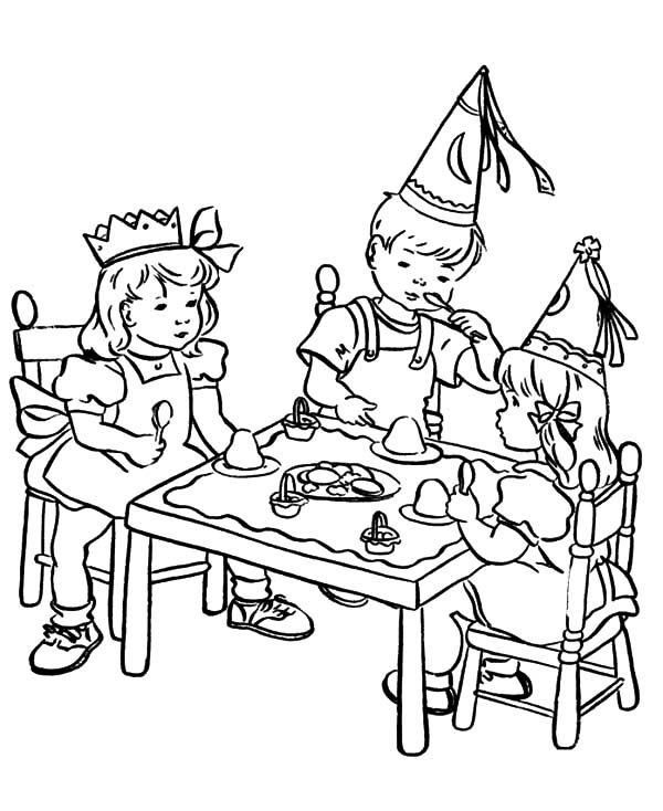 Kids Gather on Table at Birthday Party Coloring Pages