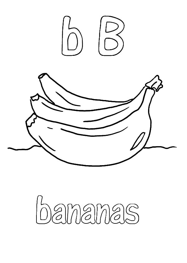 Letter B for Banana Bunch Coloring Pages