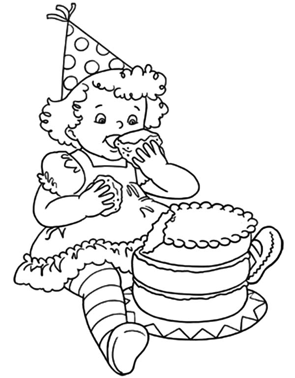 Little Birthday Girl Eat Chocolate Cake Coloring Pages
