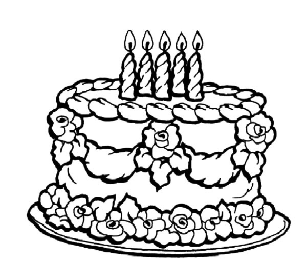 lovely decoration chocolate cake coloring pages
