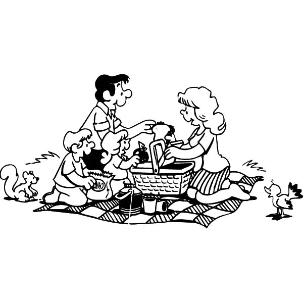 Lunch Time at Family Picnic Coloring Pages