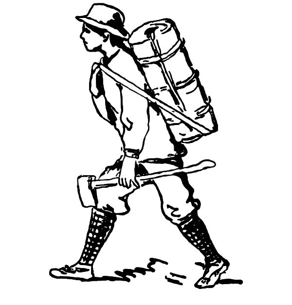 Marching to Camping with Backpack and Axe Coloring Pages