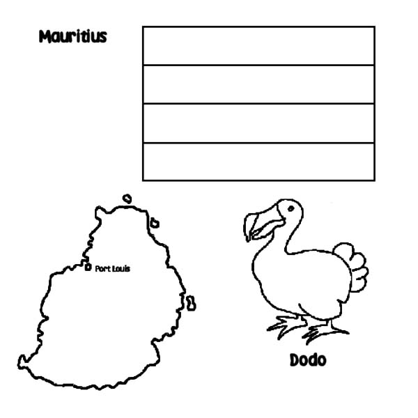 Mauritius Nation Dodo Bird Coloring Pages