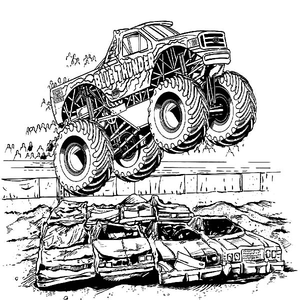 Monster Truck Jumping Over Crashed Cars Coloring Pages