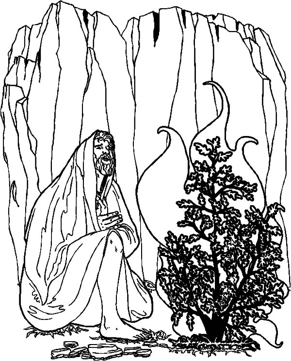 Moses Communicate with Burning Bush Coloring Pages