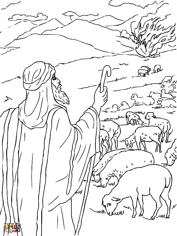 coloring pages moses burning bush - photo#21