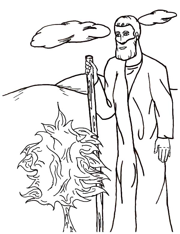 Moses Standing in Front of Burning Bush Coloring Pages