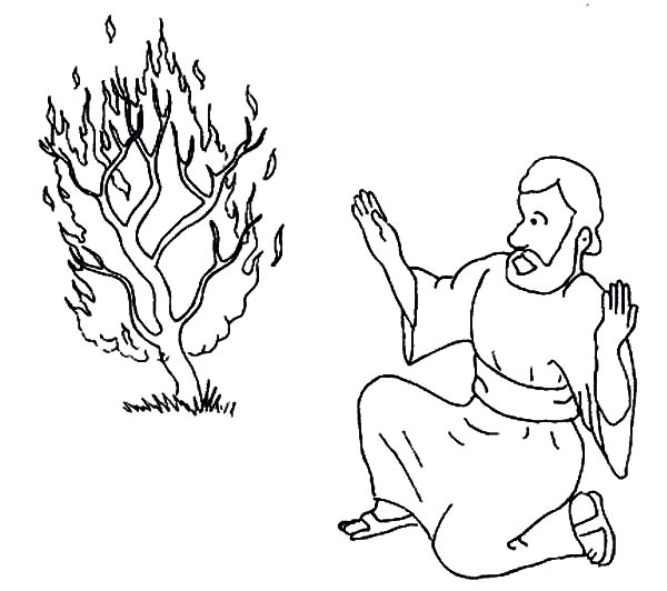 Pin Moses And The Burning Bush Coloring Page Index Of On