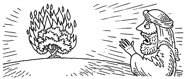 Moses Surprised Seeing Burning Bush Coloring Pages