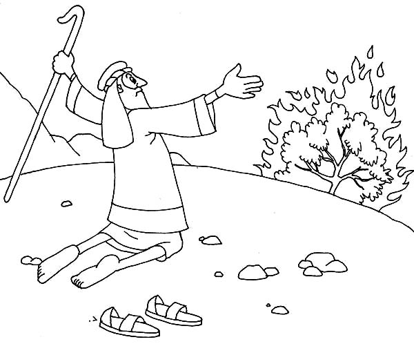coloring pages moses burning bush - photo#13