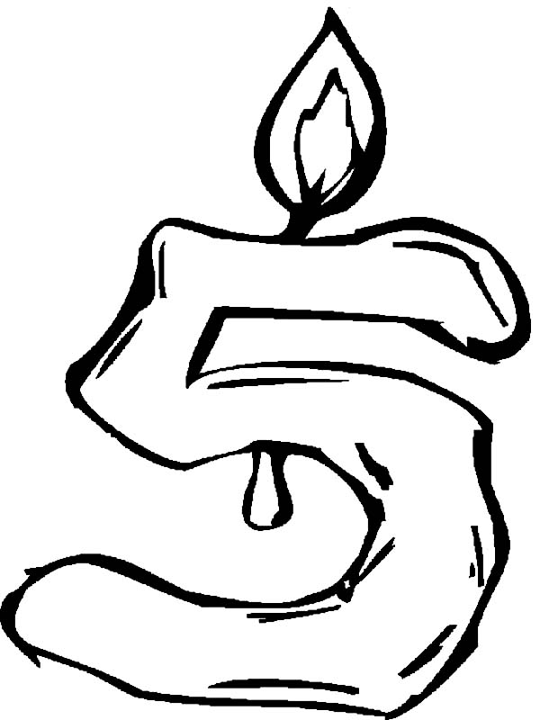 Number Five Birthday Candle Coloring Pages