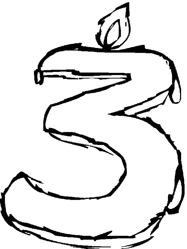 Number Three Birthday Candle Coloring Pages