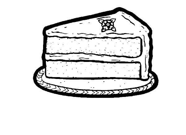 One Slice of Chocolate Cake Coloring Pages NetArt