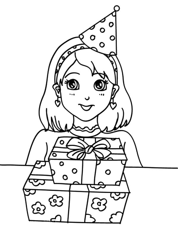 Preety Girl Birthday Party Coloring Pages