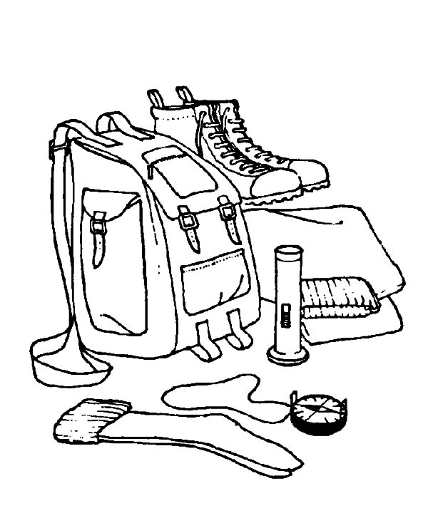 Prepare for Camping Backpack and Other Equipment Coloring Pages