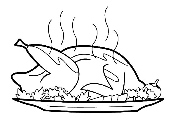 Roasted Chicken with Chicken Drumstick Coloring Pages