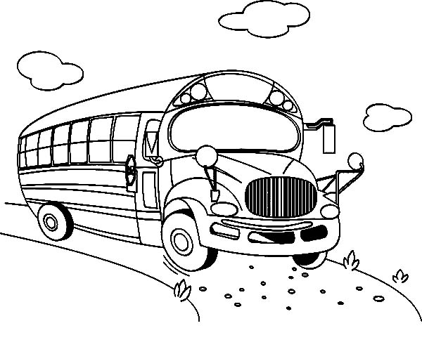 School Bus Going to City Coloring Pages
