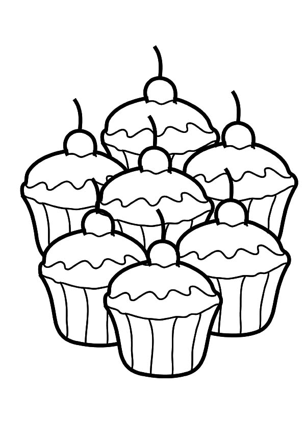 seven cupcakes coloring pages