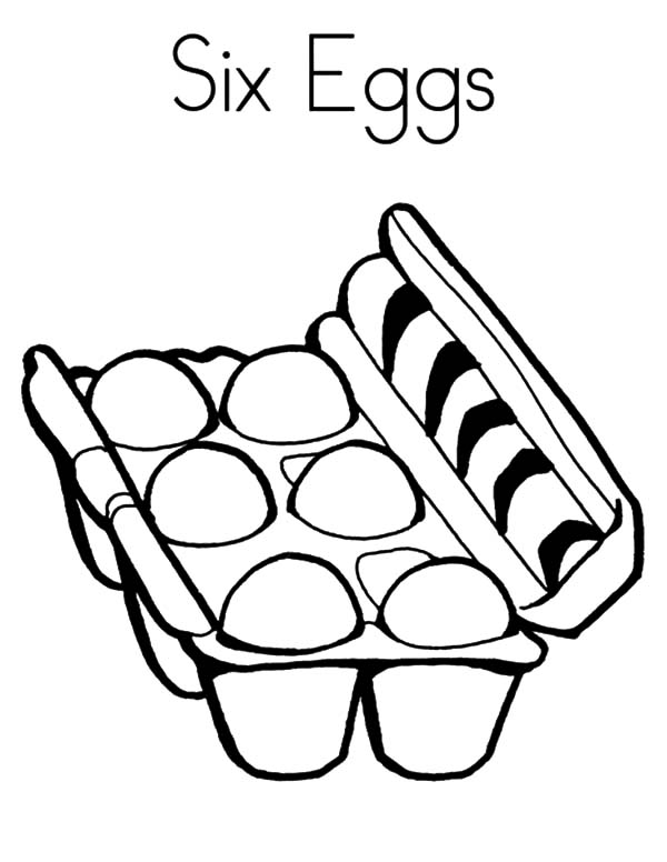 Six Chicken Egg Coloring Pages