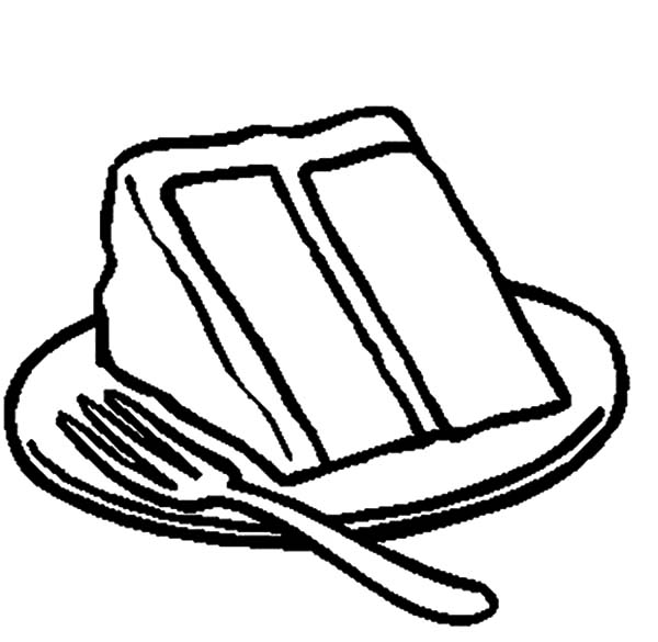 Slice of Chocolate Cake on Plate with Fork Coloring Pages ...