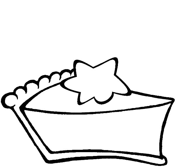 Slice of Chocolate Cake with Star on it Coloring Pages