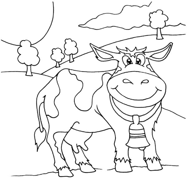 Smiling Dairy Cow Coloring Pages