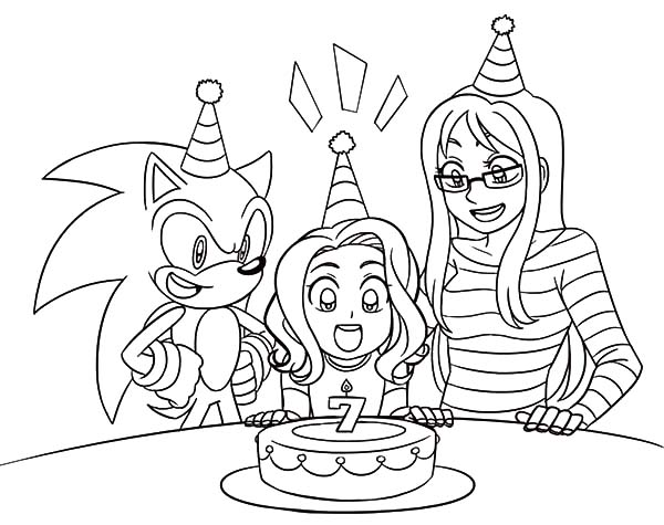Sonic Girl Friend Seventh Birthday Party Coloring Pages