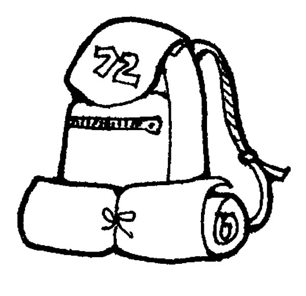 Standard Camping Backpack for Hiking Coloring Pages