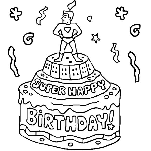 super hero figure on birthday cake coloring pages
