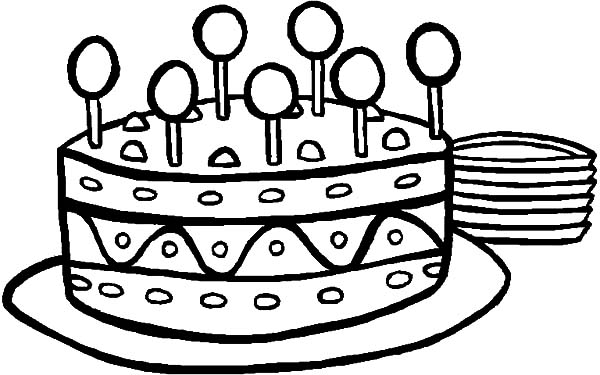 Sweet Lollipop On Birthday Cake Coloring Pages