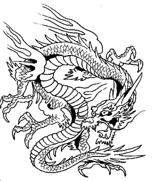 Terrifying Chinese Dragon Coloring Pages