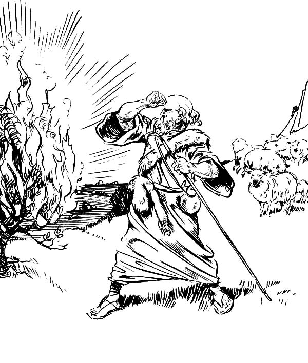 The book of exodus moses burning bush coloring pages netart for Moses and burning bush coloring page