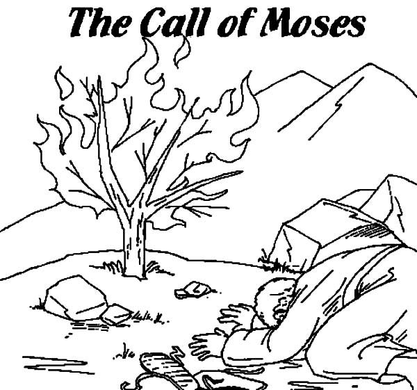 The Call of Moses Burning Bush Moses Coloring Pages NetArt