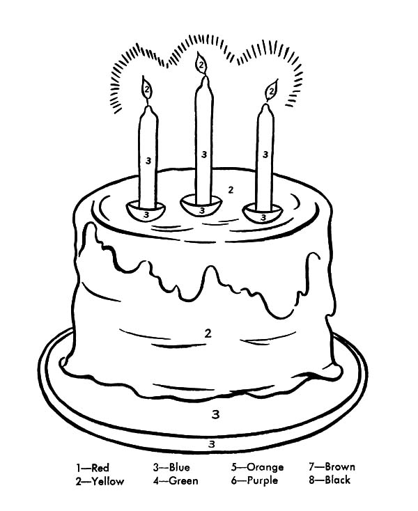Three Birthday Candle Coloring Pages