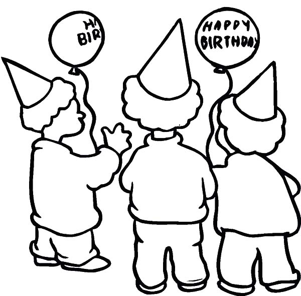 Three Boys Wearing Hat at Birthday Party Coloring Pages