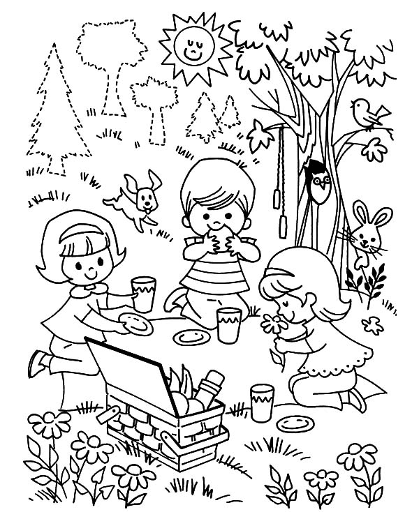 Three Children Playing Family Picnic Coloring Pages