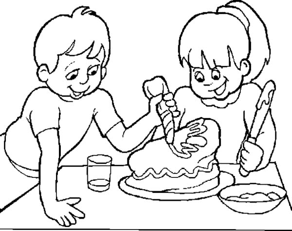 Cake Decorating With Coloring Book Pages : Two Kids Decorating Chocolate Cake Coloring Pages - NetArt