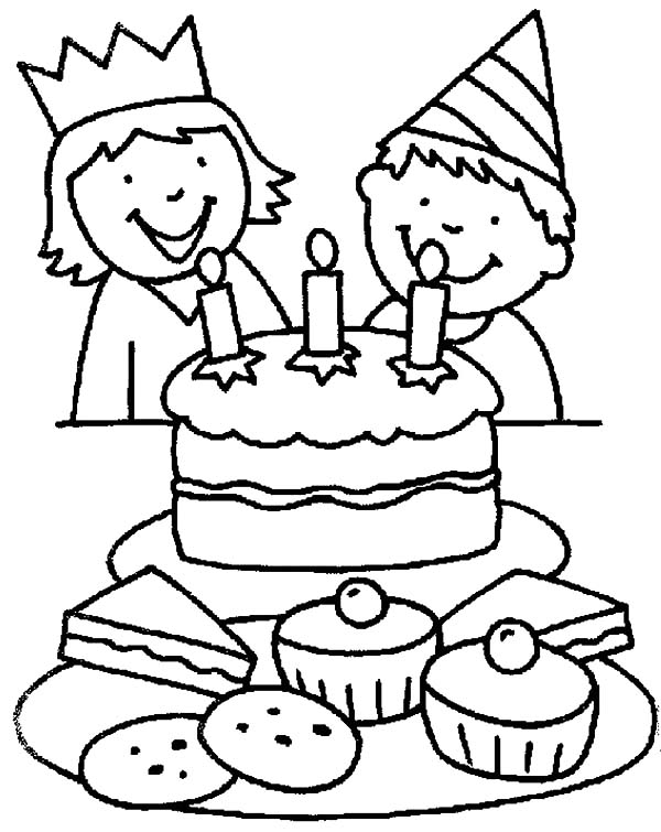 Two Kids Smiling Birthday Party Coloring Pages