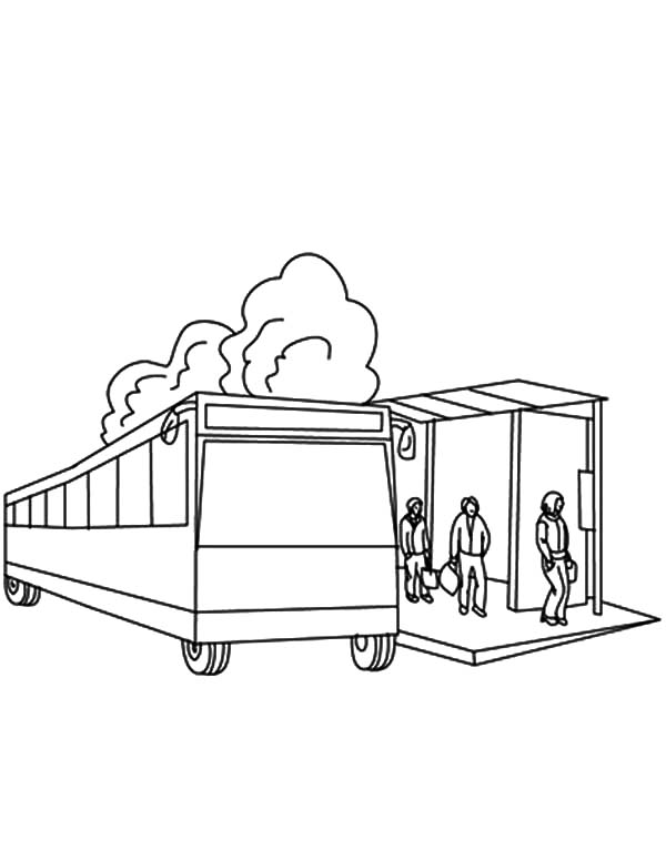 Waiting for City Bus Coloring Pages
