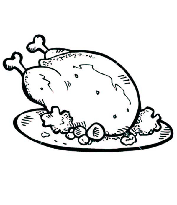 Cooked Chicken Coloring Page