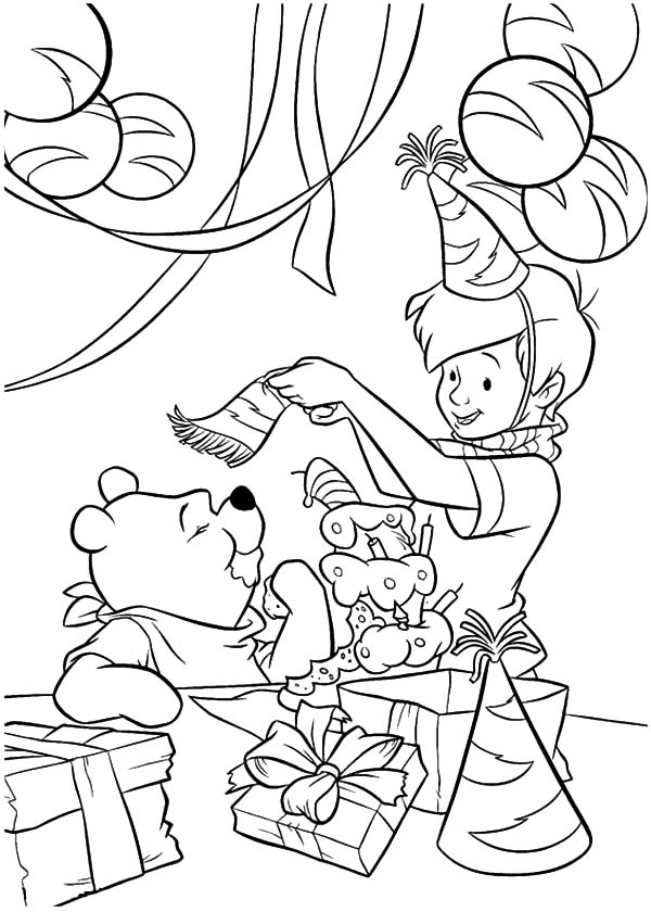 Winnie the Pooh Birthday Party Coloring Pages