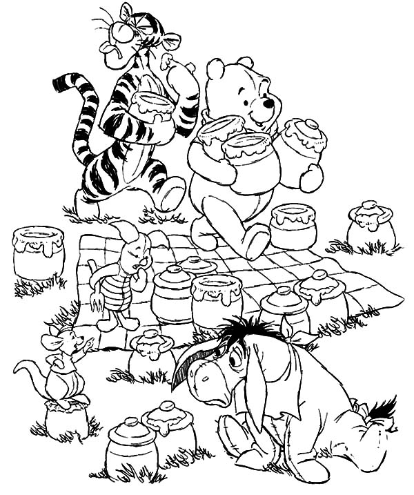 Winnie the Pooh Only Bring Honey at Family Picnic Coloring Pages
