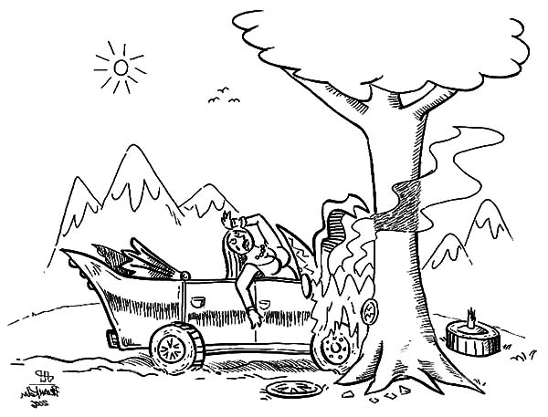 Woman Cars Crashed Coloring Pages