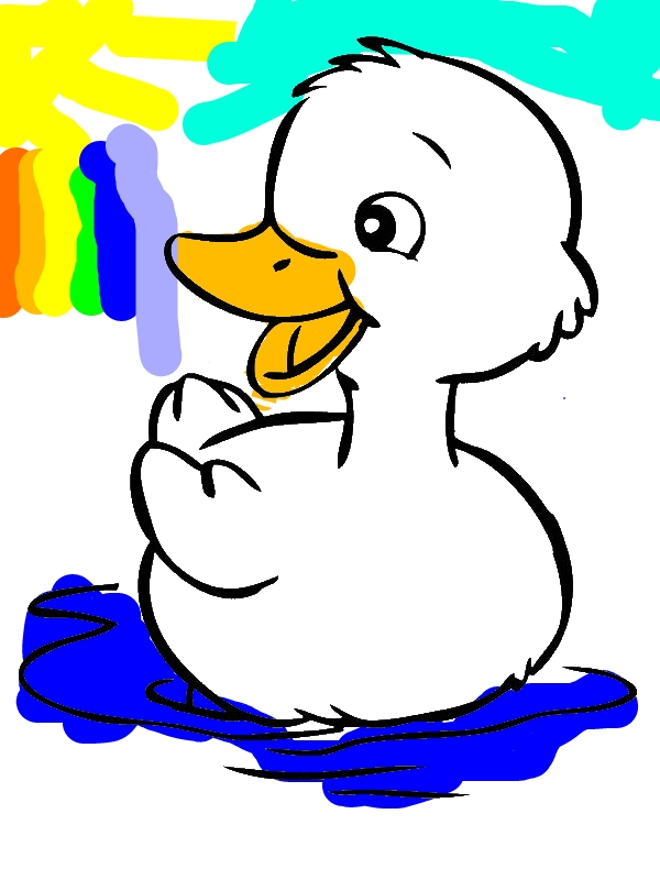 Cute Little Duck Coloring Page by years old Linda Johnson