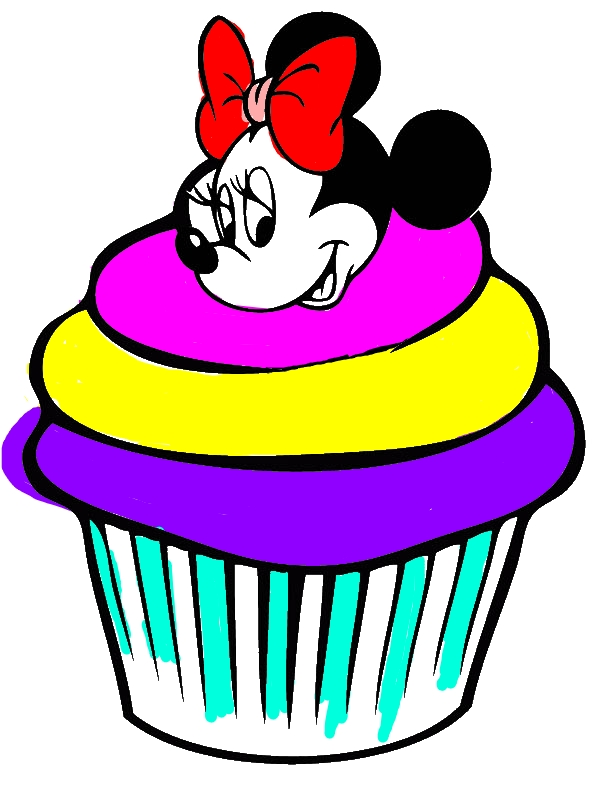 Cute Minnie Mouse Cupcake Coloring Page by 8 years old chris
