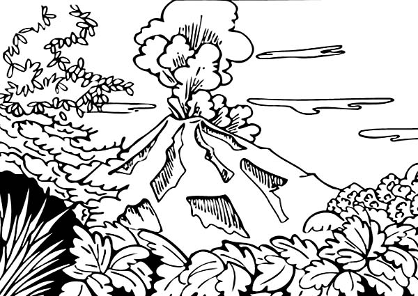 beautiful view of volcano coloring page netart