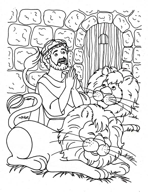 Daniel Praying Three Times a Day in Daniel and the Lions ...